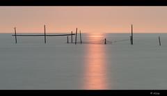 Sea-light (Just me, Aline) Tags: longexposure light sunset sea holland reflection netherlands licht zonsondergang nederland zee le lee hellevoetsluis fishingpoles reflectie rockanje visnetten langesluitertijd leefilters bigstopper