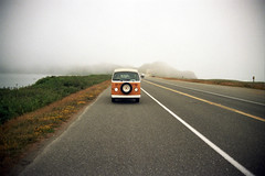 Day 2: Somewhere between California and Oregon, hitting the fog (spieri_sf) Tags: vacation bus film vw volkswagen westy 1977 camper westfalia campmobile nikonfg20 flickr10
