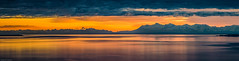 Late Sunset, Cook Inlet and Alaska Range (shadow1621) Tags: ocean blue sunset sea orange mountains reflection alaska colorful vibrant cook inlet