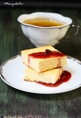 Squares of cheesecakes with raspberry jam (manyakotic) Tags: food cup cake cheese dark dessert tea sweet squares pudding cheesecake homemade raspberry treat bites creamcheese jam greentea slices baked cottagecheese clottedcheese