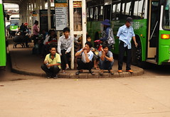 ,, No Smoking ,, (Jon in Thailand) Tags: bus green nikon asia streetphotography cellphone smoking mobilephone nosmoking nikkor talking laos curb d300 175528 3rdworldcountry asianstreetphotography squattting