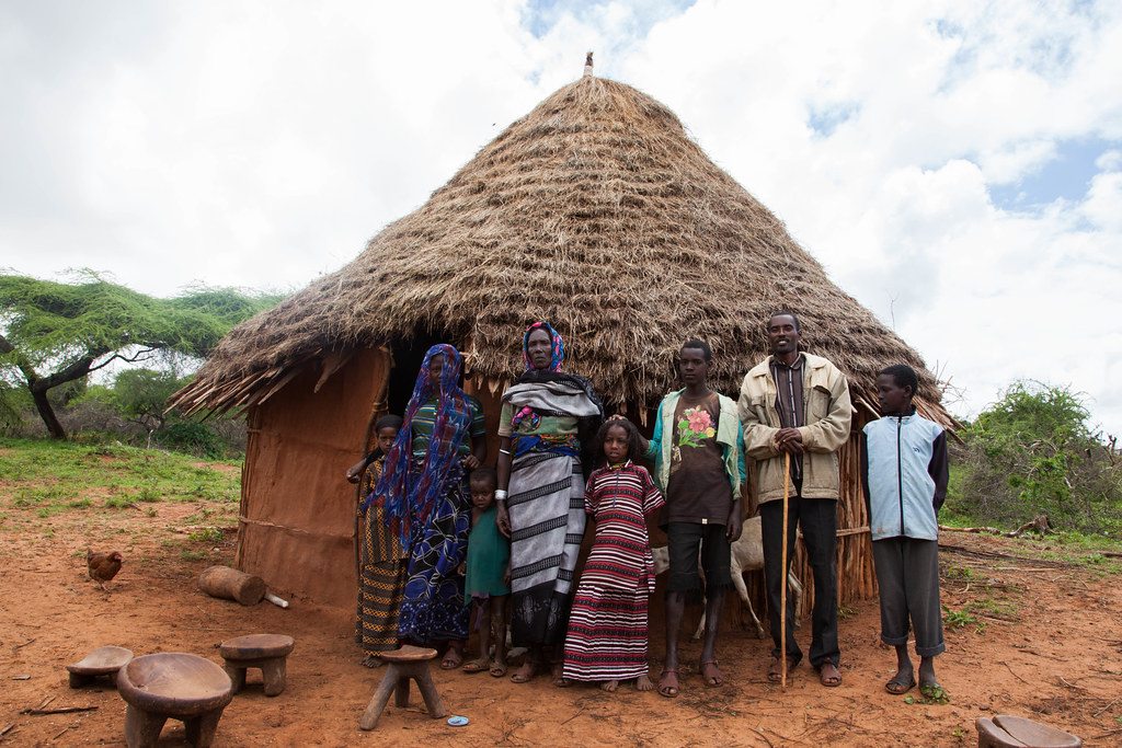A Pastoralist Family In Borana Poses Infront Of Their House International Livestock Research Institute