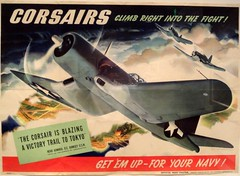 """""""Corsairs Climb Right Into the Fight"""" by Jon Whitcomb (1943). Official Navy Poster. (lhboudreau) Tags: museum plane poster airplane washingtondc smithsonian flying dc washington aircraft aviation wwii airplanes flight exhibit worldwarii planes corsair airspace usnavy exhibits nationalairandspacemuseum airandspace 1943 airspacemuseum smithsonianinstitution militaryaircraft smithsonianmuseum nationalairspacemuseum corsairs jonwhitcomb navyposter officialnavyposter corsairsclimbrightintothefight"""