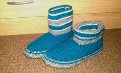 Blue Lagoon boots, slippers. (Kiks Crochets) Tags: boots crochet slippers