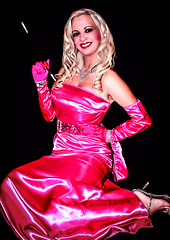 """My beautiful friend Angelica """"STORMY"""" Scott: Marilyn Monroe look in pink satin dress (Juliapanther Over 36 million views, thanks!!!) Tags: pink portrait beautiful marilyn scott costume high model glamour long dress legs cigarette gorgeous posing stormy lips sensual smoking gloves monroe heels gown satin angelica diva pinup rhinestones holder"""