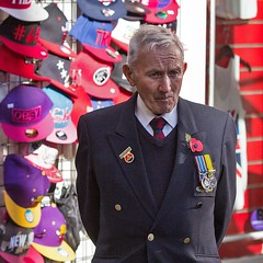 Candid street portrait, Remembrance Sunday, Canterbury, 13 Nov 2016 (chrisjohnbeckett) Tags: remembrancesunday canterbury portrait candid soldier red poppy obey thoughtful chrisbeckett canonef135mmf2lusm medals square global photojournalism