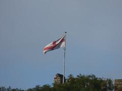 Dudley Castle & Zoo - England flag (ell brown) Tags: dudley blackcountry westmidlands england unitedkingdom greatbritain castlehill castlehilldudley dudleycastle ruinedcastle ruin dudleyzoo tree trees trindlerd flag englandflag