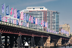 Darling Harbour (Merrillie) Tags: nsw flags landscape highrises bridge outdoors australia waterfront city cityscape sydney buildings newsouthwales darlingharbour