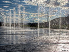 ... (Jean S..) Tags: fountain splash sky clouds summer shadow reflection blue white sun sunny hill city urban water