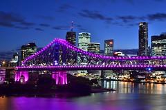 the colour purple (tewhiufoto) Tags: tewhiufoto nikon flickr australia queensland nikond3100 sigma30mmf14exdchsm sigma purple bridge storybridge night light color flares longexposure colours bluehour iknowwhereyouare brisbane river