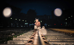 Dream ..... for a single moment ...... (mithila909) Tags: streetphotography children trainline night nightphotography emotion lifestyle