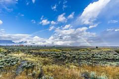 Rain Clears from the Tetons (waterrocksnow) Tags: mountains meadow shrubs sage grass fence clouds rainbow doublerainbow tetons grand teton grandtetonnationalpark wyoming