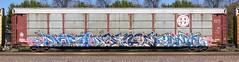 Nome/Sence/Yanta (quiet-silence) Tags: graffiti graff freight fr8 train railroad railcar art nome sence yanta rk autorack bnsf bnsf300194