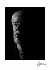 Joe - Low Key (M Gardner Photography) Tags: portrait lowkey monotone blackwhite malemodel face beard facialprofile artborder whiteborder