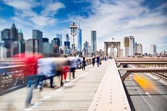 The Brooklyn Bridge Traffic (Jakub Slovacek) Tags: brooklynbridge eastriver manhattan nyc newyork oneworldtradecenter usa architecture car city cityscape clouds downtown landmark longexposure metropolis sightseeing sky skyline skyscraper tiltshift travel urban bridge people blur