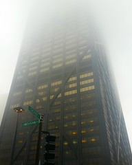 Fading Hancock Tower (carlos_ocampo) Tags: chicago skyscraper building fog foggy morning fade hancocktower michiganavenue