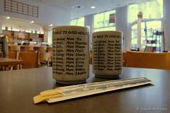 Ten Ways to good health - Bleibt Gesund (Sockenhummel) Tags: charlottenstrase ishin fuji x30 fujifilm finepix fujix30 tenwaystogoodhealth tee teebecher restaurant sushibar tea gesundheit health