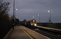 "GBRF Class 66 66757 ""West Somerset Railway"" hauls Eurostar Class 373 373019/3020 through Tamworth (qwertyberty45) Tags: eurostar 66757 gbrf 3019 3020 tamworth"
