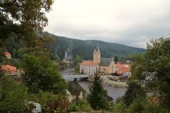 View from Rožmberk Castle 03 (smilla4) Tags: architecture sky clouds smoke boats vltavariver moldau czechrepublic rozmberknadvltavou