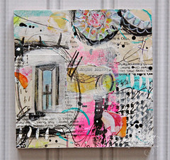 Cross in the Window 4x4 (identicaltriplets) Tags: mixedmedia art boards papertopainting