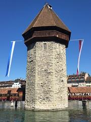 Lucerne water tower and chapel bridge - Kapellbrücke - C (seththompsonartist) Tags: kapellbrücke lucerne tower bridge water switzerland