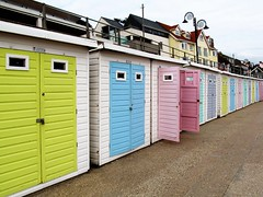 Beach huts at Lyme Regis (pefkosmad) Tags: lymeregis dorset seaside beach huts beachhuts doors colour recreation holiday vacation vacances england uk cartroad cabin wooden shelter seafront