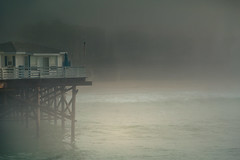 Just there, beyond the shore (peaflockster) Tags: california sandiego waterfront fog atmospheric beach shadows vsco