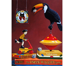 Toucan Play At This Game (L. Apple Originals) Tags: imaginative realism realistic painting humor stilllife vintagetoys vintagewindup toucan bird