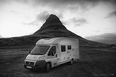 camping in style ;) (lunaryuna) Tags: iceland westiceland snaefellsnespeninsula kirkjufellmountain camping stellplatz roadtrip lunaryuna evening nightfall blackwhite bw monochrome