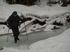 Peter delicately crossing creek (David R. Crowe) Tags: landscape mountain mountainscrambling nature outdooractivities scrambling turnervalley alberta canada