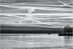 Farewell at the Lakeside... (Ody on the mount) Tags: abendlicht bodensee friedrichshafen gegenlicht himmel licht sonnenuntergang wasser wolken bw monochrome sw badenwürttemberg deutschland de