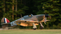 Hawker (CCF) Hurricane Mk12 Landing Straight Into Sun (4myrrh1) Tags: hawkerccfhurricanemk12 hawker hurricane pungo virginia va virginiabeach grassstrip aircraft airplane aviation airshow airplanes airport landing sunset canon ef100400l 7dii flight flying flyingprom 2016 colorful evening