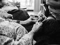 Granny (BurlapZack) Tags: olympusomdem5markii panasonicleicadgsummilux25mmf14 vscofilm pack06 arthurcitytx paristx grandma grandmother photograph polaroid memories hands availablelight handheld portrait bokeh dof bw mono monochrome family visit northtexas