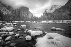 Valley View in Winter, Yosemite (Robert Pearce Photography) Tags: california longexposure trees winter blackandwhite bw snow water monochrome clouds river landscape march nationalpark yosemite granite elcapitan hdr valleyview 2012 yosemitevalley mercedriver flowingwater photomatix nikond200 tonemapped gatesofthevalley nd110 bwfilters robertpearce robertpearcephotography