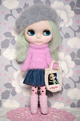 Just popping out to the shops (Zo Power) Tags: pink bag grey doll soft pretty blythe knitted angora simplypeppermint