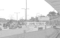 Curving into Addison (yooperann) Tags: blue chicago cars station train sketch highway cta authority platform line transit l express elevated addison effect lanes chicagoist expresway