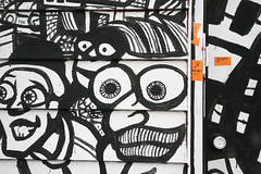 Doorbell! (peterkelly) Tags: door orange toronto ontario canada digital graffiti eyes mural message note doorway northamerica kensingtonmarket doorbell