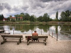 It will be summer (Locsmandisz) Tags: street old people urban lake green beach clouds bench spring wide wideangle oldman olympus streetphoto omd sopron tomalom