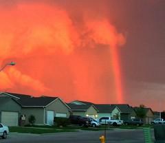Red rainbow (MacSmiley) Tags: camera sunset storm southdakota rainbow interestingness483 2013 i500 macsmiley iphone5