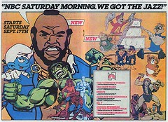 NBC Saturday Morning 1983 (Dex1138) Tags: morning ariel television tv cartoon spiderman saturday chipmunk iceman mok smurf hulk mrt 1980s alvin firestar flintstone ookla thundarr amazingfriends shirttales