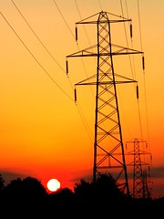 Pylon Sunset (lcfcian1) Tags: uk trees sunset england sky orange sun silhouette set evening leicestershire south pylon wires wigston blaby