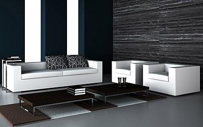 sala minimalista blanco y negro