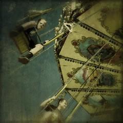 Nick Angel & Danny Butterman go to the fair (Janine Graf) Tags: summer 6x6 boys kids ride fair swing wa evergreenstatefair hotfuzz touchretouch janine1968 iphone4s janinegraf snapseed moderngrunge