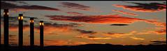 Tardor [Explore 29.09.2013] (Herminio.) Tags: barcelona sunset cloud clouds atardecer soleil arquitectura farola tramonto explorer catalonia explore nubes catalunya silueta catalua olimpic rojas fanals alcaraz herminio katalonien explored estadi couchee herminioalcaraz