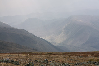 Misty view from the shoulder of Helvellyn, Eastern Fells, Lake District National Park, Cumbria, UK