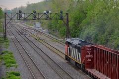 Close to Taschereau Yard (Michael Berry Railfan) Tags: cn train montreal ge lachine dash8 generalelectric canadiannational freighttrain cowl cn2406 dash840cm cn323 montrealsub
