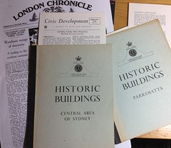 The London Chronicle, background to Civic Development from Sydney 1962 (spelio) Tags: travel australia email act ipad australiancapitalterritory 2015