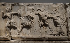 Slab of the Amazonomachy relief from the Mausoleum at Halikarnassos believed to show Herculeas grabbing the Hair of the Amazon Queen Hippolyta, around 350 BC, British Museum (Following Hadrian) Tags: mausoleum bodrum halicarnassus caria halicarnassos maulossos