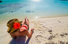 Beach babe (JSTAR377) Tags: blue portrait woman flower beach water sand babe tropical week faceless bahamas 19 tanned