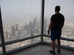 On the first viewdeck at Burj Khalifa (450m) looking towards Sheik Zayed Road.